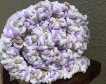 dp baby blanket-purple, khaki and white-baby shower gift-photo prop