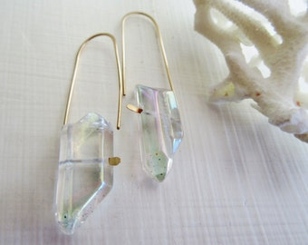 Mystic Crystal Quartz Earrings - Polished Crystal Points - White - Iridescent -Gold Filled