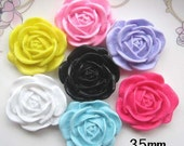 7 pcs of Resin Round Flower Cabochon Flat back 35mm Mixed Color