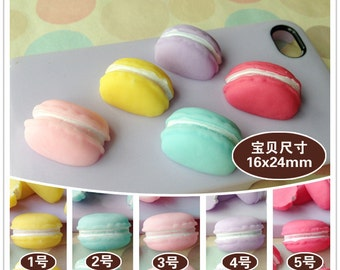 10pcs diy half macarons kawaii resin cabochon 24x16mm flatback 7colors