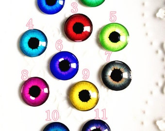 20pcs of glass eyes round cabochon for diy doll eyes and cartoon animal eyes accessories style3