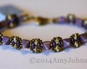 Beadweaving Bracelet, Mini Pyramid Beads in Lavender, Purple superduo, Jewelry, Bangle,Amy Johnson Designs BF2333