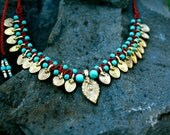 Tribal Necklace/ boho necklace/ tribal collar/ gold and red