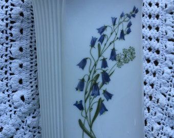 Vintage Hackefors Porcelin Vase Gold Trim Art Deco type Style White with Blue Bells Sweden Hackefors VASE Sweedish Flower Vase