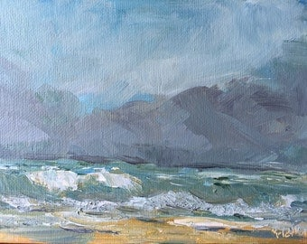 Beach Painting Original Art work Oil Stormy Beach Ocean Waves Storm Clouds Fine Art Modern Art Nautical Cottage Wall Art Hime Decor