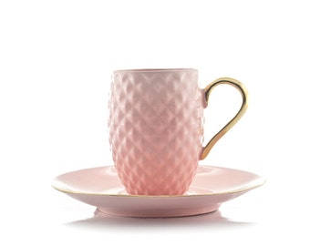 Pastel Pink Espresso Cup, Pineapple Pattern Cup, Textured Cup