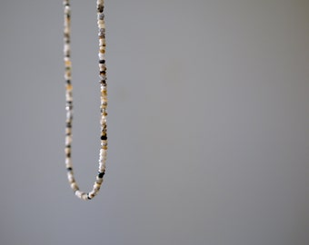 TWINKLE. dendritic opal necklace with tiny stones.  minimal. slight. luxe. gift for her.