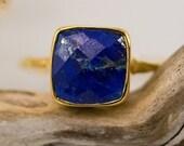 WINTER SALE - Lapis Ring - September Birthstone Ring - Gemstone Ring - Stacking Ring - Gold Plated - Cushion Cut Ring