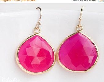 40 OFF - Fuchsia Pink Earrings - Hot Pink Earrings - Pink Chalcedony Earrings - Bezel set earrings - Gemstone earrings - gold earrings