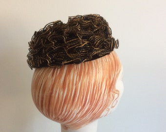 Lilly Dache Lilly's Dillys Brown and Black Straw Pillbox Hat