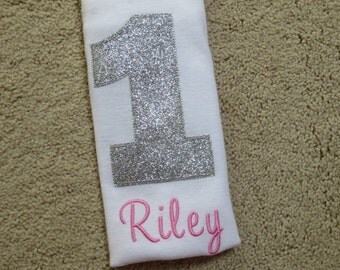 Baby Girl 1st Birthday Outfit - Silver Pink Bodysuit Shirt - Girls First Birthday Outfits - 1st Birthday Girl Outfit - Glitter Birthday