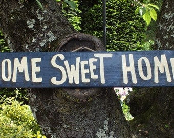 HOME SWEET HOME. - Country Primitive Rustic Wood Handmade Sign Plaque