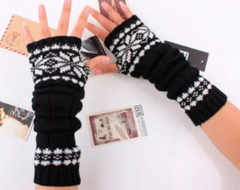 Black cotton snowflake arm warmers fingerless gloves