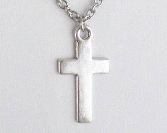Simple Cross Necklace, Cross Necklace, Religious Jewelry, Christian Jewelry, Baptism Gift, Confirmation Gift, Communion Gift, Teen Gift