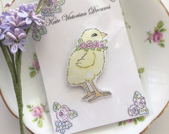 Magnet, Sweet Fluffy Chick Wearing a Wreath of Pink Roses, Baby Roses, Original illustration, Art, Watercolors, Cottage Chic, Cute