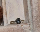 Unconventional-Mounted-black- raw rough diamond - Sterling Silver- solitaire-promise-valentine's day