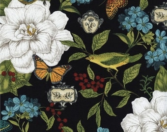 Floral, Butterfly and Birds on Black premium cotton fabric From Timeless Treasures Modern Curiosity Collection