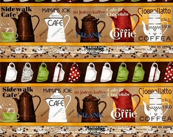Daily Grind Coffee Pots Stripe premium cotton fabric by J Wecker Frisch for Quilting Treasures BTY