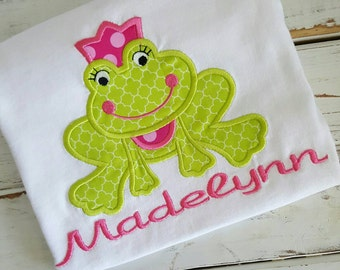 Princess Frog Personalized Embroidered Appliqued T-Shirt or Onesie