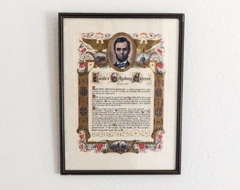 Portrait of Abraham Lincoln with Gettysburg Address Talio-Crome Print