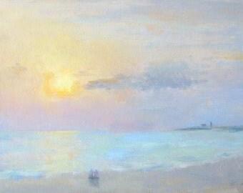 Herring Cove Beach, Sunset - original seascape painting by Keiko Richter