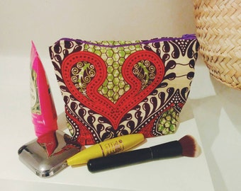 African Print Make Up Bag