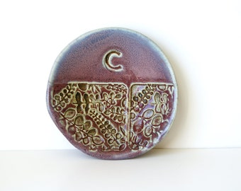 """MADE TO ORDER.... 4 1/2"""" Personalized Ring Dish in Purple and Black, Ceramic, Handmade Pottery, by RiverStone Pottery"""