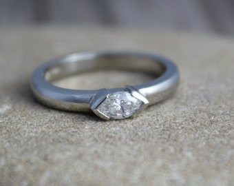 Diamond Marquise Ring in 14k White Gold, East to West Marquise, Half Bezel, Simple Engagement Ring, Ready to Ship Gold RIng