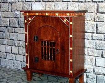 Livery Cupboard with Inlay Trim, Medieval Dollhouse Miniature 1/12 Scale, Hand Made