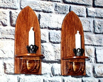 Candle Sconces, Walnut Sconces, Medieval Dollhouse Miniature1/12 Scale, Hand Made