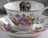 Floral Skull Teacup and Saucer Set, Steampunk Tea Cup, Goth Teacup, Skull Dish, Rockabilly, Chintz Teacup, Flower Skull Cup, Halloween