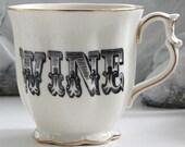 Cream / Gold Scalloped Wine, Whiskey, Gin, Rum, or Vodka Mug, Liquor Cup, Booze Teacup, Customizable, 10 Ounces