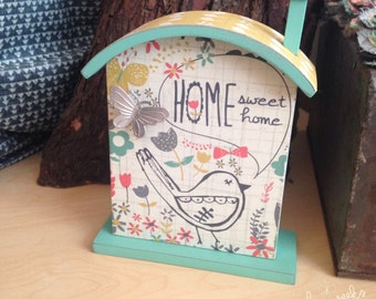 "Home Sweet Home Self-Standing House Plaque, 7"", housewarming gift, Christmas gift, birdhouse"