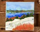 Lake George from Buck Mountain. An original Adirondack watercolor painting.