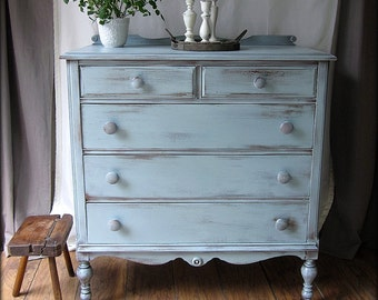 SOLD-Farmhouse Style Dresser~Cottage~Prairie~Shabby Chic-highboy-chest of drawers