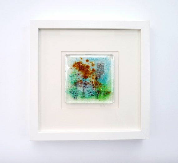 Fused Glass Wall Art: Glass Wall Art Artwork Abstract Fused Glass Painting