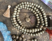 Khaki Olive Bone Mala Beads 9mm, 108 beads, Exclusive Color, Jewelry Making Supply, Large Hole Rondelle Beads for Bracelets, Yoga Mala
