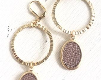 Gold Hoop and Tan Oval Dangle Earrings. Long Gold Dangle Earrings.  Geometric Earrings.  Modern Jewelry. Hoop Earrings. Gift for Her.
