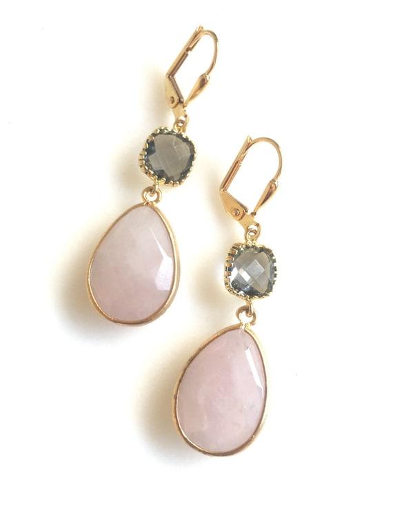 Rose Quartz and Charcoal Grey Drop Earrings in Gold.  Bridesmaid Earrings. Dangle Earrings. Pink Drop Earrings. Wedding Jewelry. Bridal Gift
