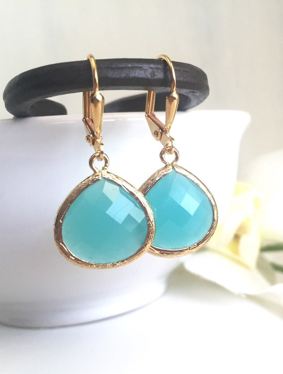Simplicity Drop Earrings - Turquoise Faceted Glass Teardrop in Gold. Simple Gold Earrings.  Turquoise Fashion Earrings. Gift for Her.