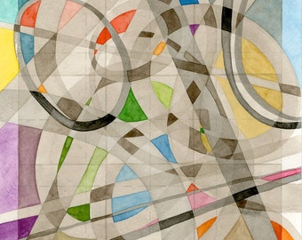 "Abstract Geometric Watercolor Painting 8""x8"" modern decor art grey red orange yellow green blue purple magenta brown sepia black ovals"
