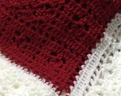 Christmas red and white crocheted baby blanket