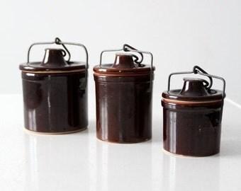 SALE vintage stoneware canning jar collection, set/3 jars