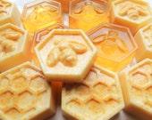 HONEY or GOATSMILK with Lemon Peel SOAPS, Set of 3, Goats Milk with Lemon Peel or Honey Bee-Honey Comb Soaps, Your Choice, Wedding Favors
