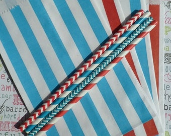 XOXO SALE Dr. Suess Red and Blue Stripe Candy Bags Medium for Candy Bars, Party Treats and Gifts - 50 count