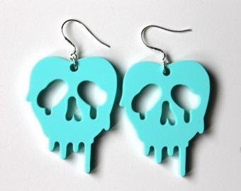 SALE - Poison apple mint earrings inspired by Snow White