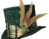 Tall Green Top Hat Emerald Peacock Steampunk Gypsy Victorian Gentlemens Cosplay Mens Mad Hatter