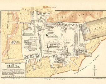 1896 Antique Map of the Ancient Olympia with the Temple of Zeus