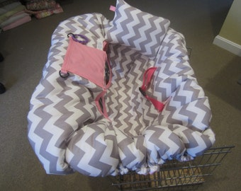 Gray Chevron Print with Lavender Shopping Cart Cover and Pillow