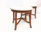 Mid century Modern Rattan Table Vintage Bamboo Round Side Tables Retro Wicker Rattan Furniture